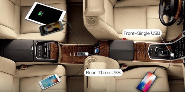 Cargador USB múltiple de coche para asientos delanteros y traseros chollo en Zapals