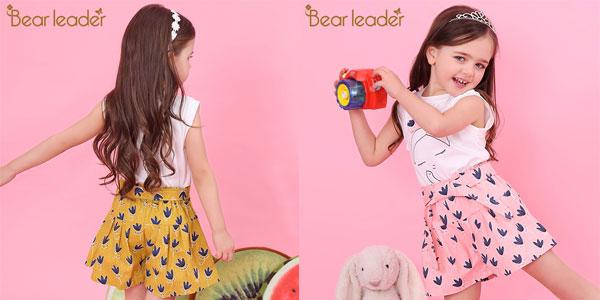 Conjunto camiseta y pantalón corto Bear Leader para niña