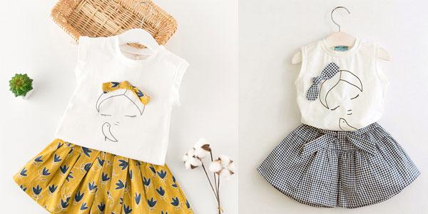 Conjunto camiseta y pantalón para niña en varios colores