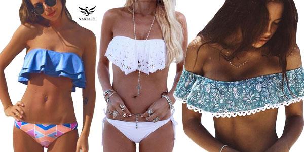 Conjunto de bikini Nakieoi con top de volantes