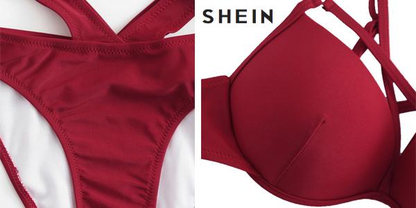 Bikini SheIn con tiras entrecruzadas en varios colores
