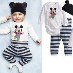 Conjunto para bebé (body + pantalón + gorrito) de Mickey, Minnie o animalitos barato en AliExpress