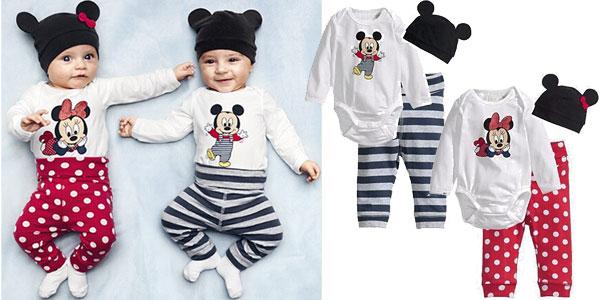 Conjunto 3 piezas para bebé de Mickey, Minnie o animalitos