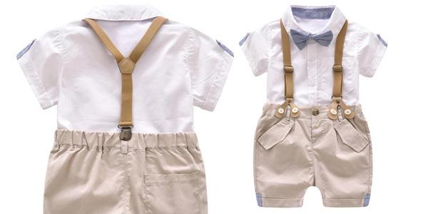 Conjunto de pantalón y camisa para bebé barato en AliExpress