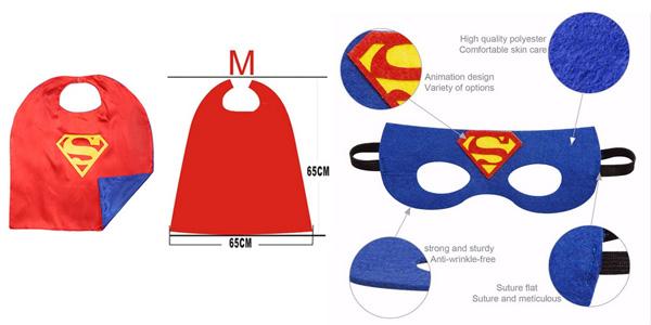 Conjunto de capa y antifaz de superhéroes para niñ@s chollo en Amazon