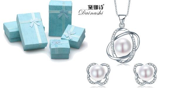Conjunto de pendientes y collar Dainashi de plata de ley barato en AliExpress