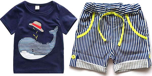 Conjunto infantil de pantalón corto y camiseta estampada de ballena barato
