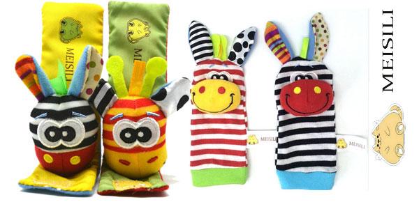 Pack de calcetines y muñequeras con sonajero para bebé en AliExpress