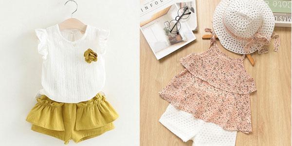 Conjunto de blusa y short para niña de 2 a 7 años chollo en AliExpress
