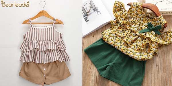 Conjunto de blusa y short para niña de 2 a 7 años barato en AliExpress