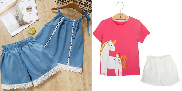 Conjunto de blusa y short para niña de 2 a 7 años chollazo en AliExpress