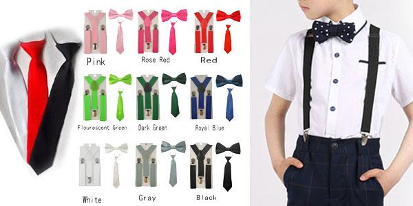 Conjunto de tirantes, pajarita y corbata infantiles barato en AliExpress