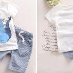Conjunto de camiseta y pantalón corto Tanguoant con estampado de dinosaurio para niños barato en AliExpress