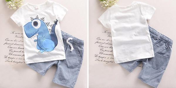Conjunto de camiseta y pantalón corto con estampado de dinosaurio