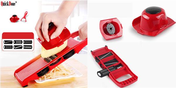 Cortador rallador de fruta y verdura QuickDone con cuchillas de acero inoxidable