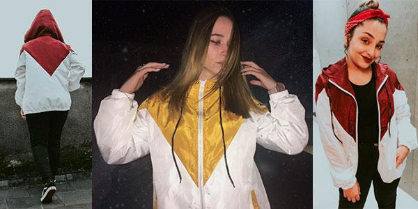 Cortavientos con capucha en varios modelos para mujer barato