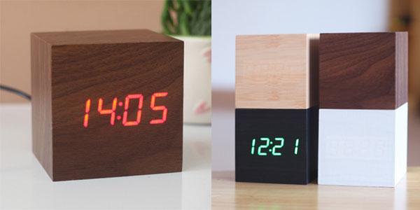 Despertador LED de escritorio en forma de cubo