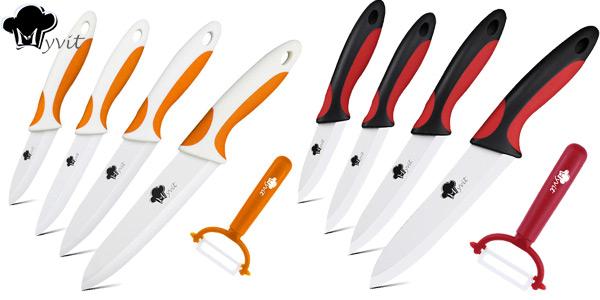 Conjunto de 4 cuchillos cerámicos + pelador MYVIT chollazo en Banggood