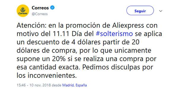 Cupón descuento de Correos para las ofertas 11.11 SIngles Day de AliExpress