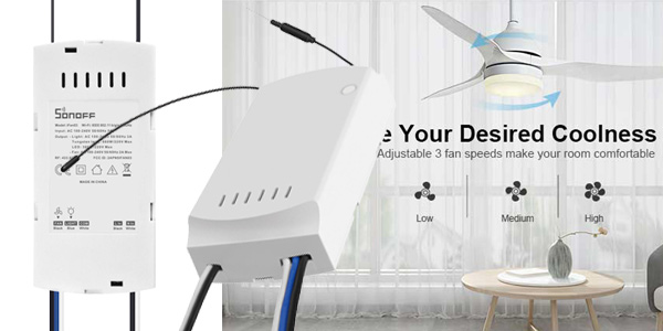 Controlador inteligente SONOFF IFan03 para lámparas ventiladores de techo chollo en AliExpress
