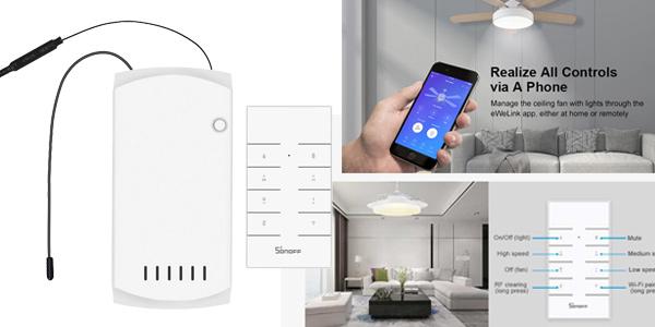 Controlador inteligente SONOFF IFan03 para lámparas ventiladores de techo barato en BangGood