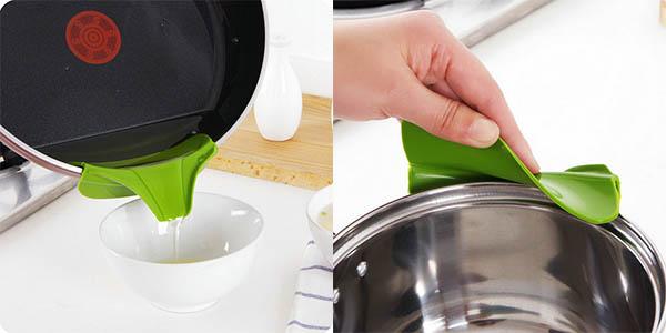 Utensilio de cocina de silicona anti-derrames