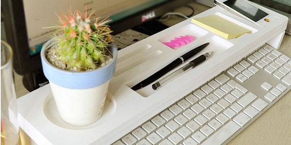 Estante organizador de escritorio para encima del teclado barato en AliExpress
