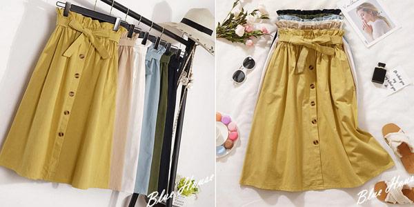 Falda plisada midi con botones y cintura alta para mujer chollo en AliExpress