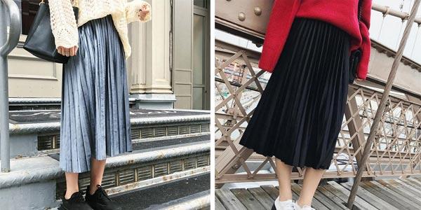 Falda midi plisada de terciopelo metalizado para mujer chollo en AliExpress