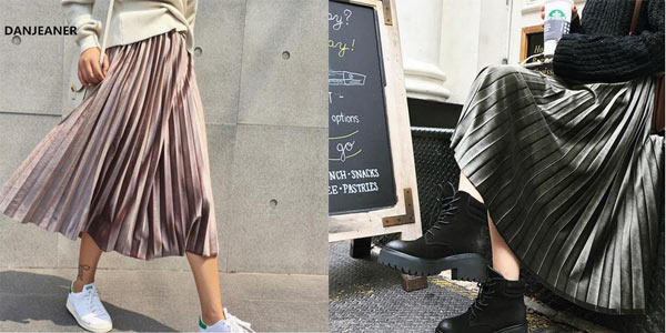 Falda midi plisada de terciopelo metalizado para mujer barata en AliExpress