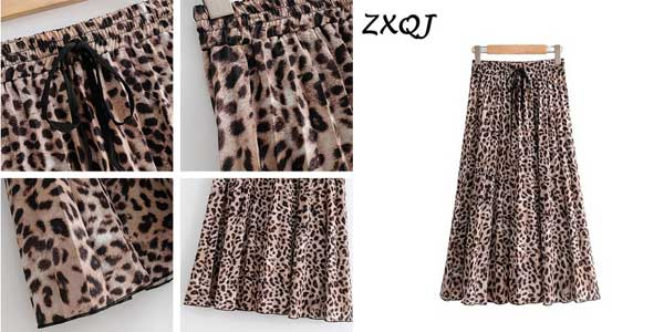 Falda plisada midi con estampado animal de leopardo para mujer chollo en AliExpress