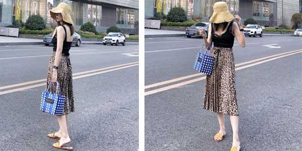 Falda plisada midi con estampado animal de leopardo para mujer barata en AliExpress