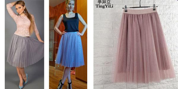 Falda midi de tul con cintura alta en varios colores