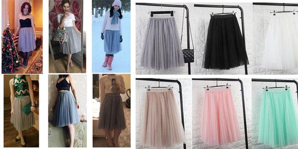 Falda midi de tul con cintura alta en varios colores barata