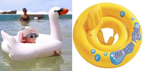 Flotador de flamenco o cisne para bebé barato