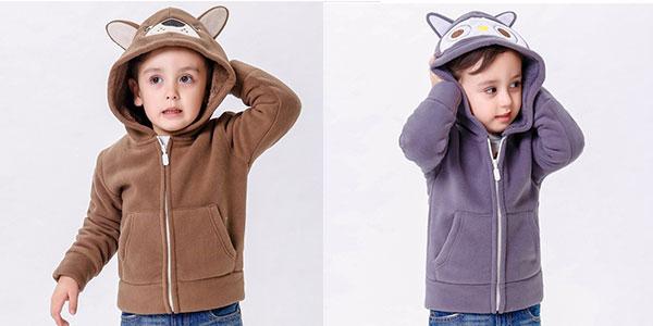 Forro polar con capucha en varios colores para niño barato