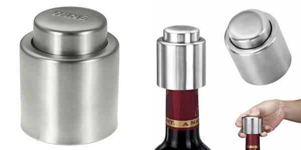 funcional tapon de botellas de vino en acero inoxidable