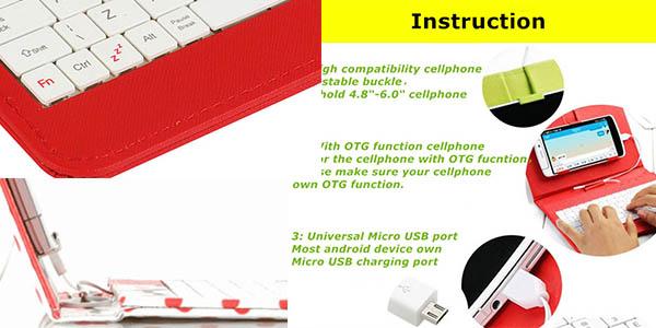 funda imitacion cuero practico soporte para móvil con teclado auxiliar