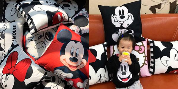 Funda para cojín de Mickey y Minnie (40 x 40 cm) barata