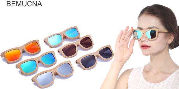 gafas de sol de madera de bambú polarizadas Bemucna chollo en AliExpress