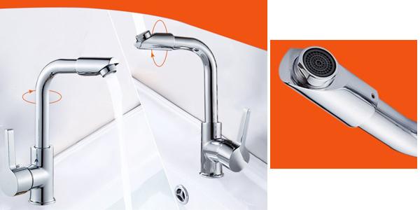 Grifo monomando FIE giratorio para baño o cocina en aleación de zinc