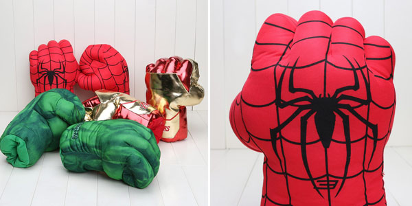 Puños de peluche de Iron Man, Hulk o Spider Man de Marvel