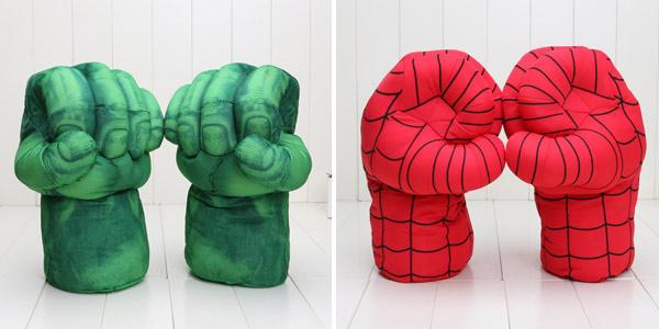 Puños de peluche de Iron Man, Hulk o Spider Man de Marvel baratos