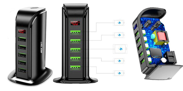Estación de carga USB USLION con 5 puertos chollo en AliExpress