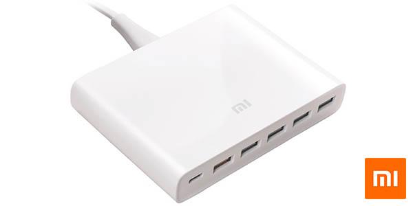 Cargador Xiaomi con 5 puertos USB + USB-C de 60W con QC3.0