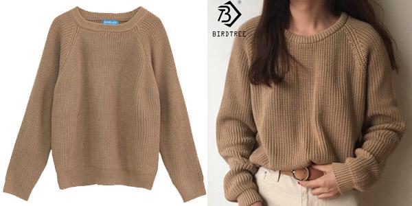 Suéter de punto para mujer con cuello redondo barato en AliExpress