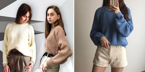 Suéter de punto para mujer con cuello redondo chollo en AliExpress