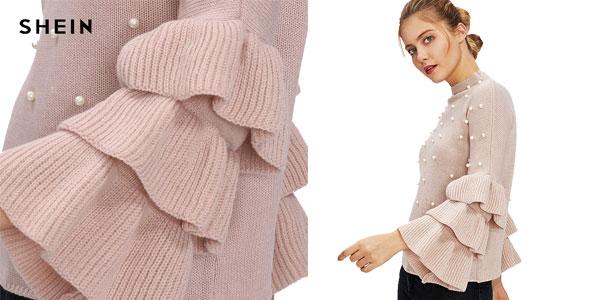 Comprar Suéter Shein rosa con perlas chollazo en AliExpress Plaza