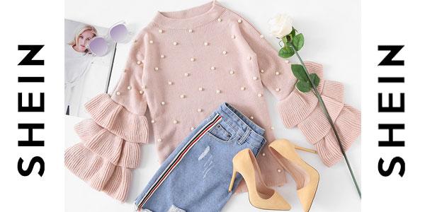 Comprar Suéter Shein rosa con perlas barato en AliExpress
