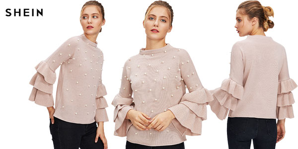 Comprar Suéter Shein rosa con perlas chollo en AliExpress Plaza